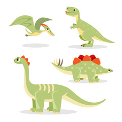 Dinosaurs collection of funny icons on vector illustration