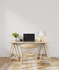 Working room with chair on wall modern minimal interior,3D rendering