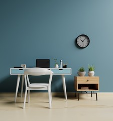 Working room interior with simple dark wall .3d rendering