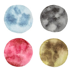 Hand drawn set of moons. Watercolor vector textures.