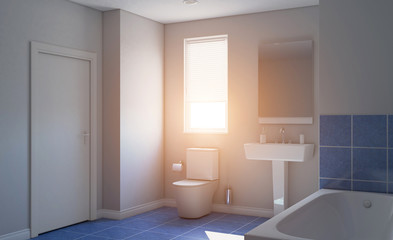 Modern bathroom with large window. 3D rendering., Sunset.