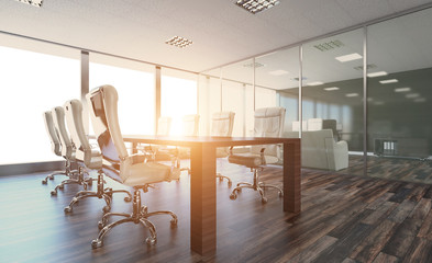 Modern office Cabinet. Meeting room. 3D rendering., Sunset.