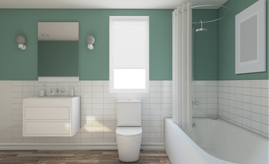 Modern bathroom with large window. 3D rendering.. Empty picture.