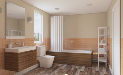 Modern bathroom with large window. 3D rendering.