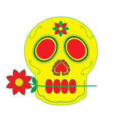 skull with flower in the mouth the day of the death mexican vector illustration