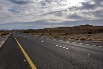 Road passing through desert, Makhtesh Ramon, Negev Desert, Israel