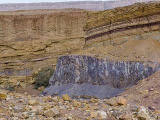 Rock formations in desert, Makhtesh Ramon, Negev Desert, Israel