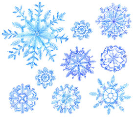Set of watercolor snowflakes. Cristmas illustration on white background