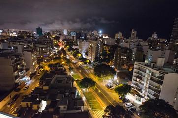 Panoramic night view of main square of Lima, Peru.