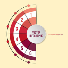 Vector chart templates for infographics with 6 options
