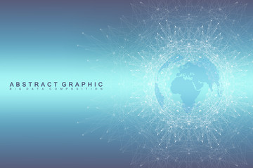 Geometric graphic background communication. Global network connections. Wireframe complex with compounds. Perspective backdrop. Digital data visualization. Scientific cybernetic vector.