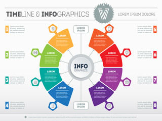 Vector infographics of technology or education process with 8 steps. Business presentation or info graphic with 8 options. Part of the report. Web Template of a chart, mindmap or diagram.