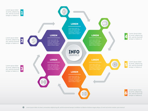 Business presentation concept with 6 options. Web Template of a circle info chart or diagram. Part of the report with icons set. Vector infographic of technology or education process with 6 steps.