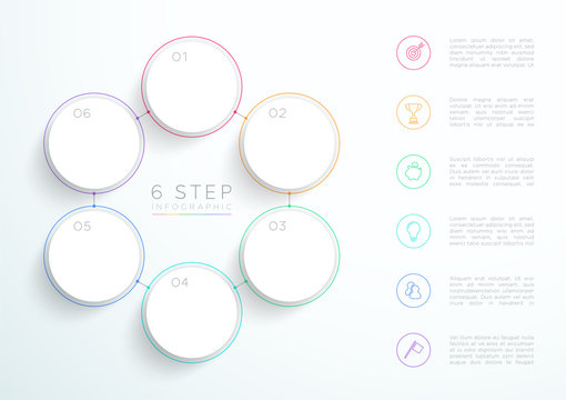 Infographic Simple White 6 Step Connected Circles