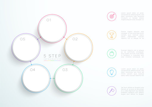 Infographic Simple White 5 Step Connected Circles