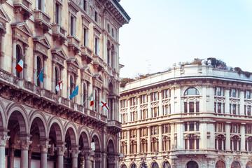 Fotorolgordijn Algerije Traditional antique city building in Milan, Italy