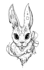 Creative strange rabbit with long fangs. Bunny vampire. Magic illustration. It can be used for printing on t-shirts, postcards, or used as ideas for tattoos.