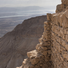 View of stone wall, Masada, Judean Desert, Dead Sea Region, Israel