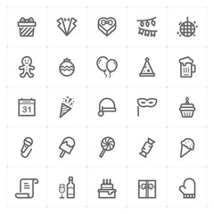 Mini Icon set – Party and celebrate icon vector illustration