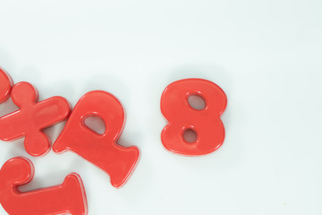 colored letters or alphabet and number on white background. Concept about education.