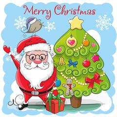 Cute Cartoon Santa Claus and a fir