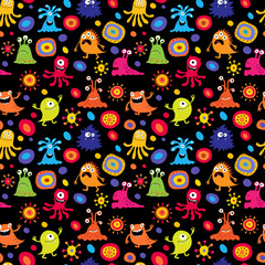 Stylish children's pattern with monsters and pattern