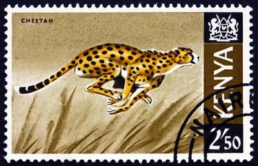 Postage stamp Kenya 1966 cheetah, acinonyx jubatus, animal Wall mural