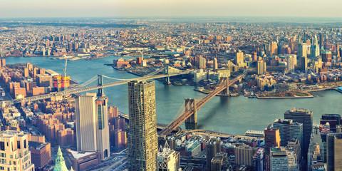 Fond de hotte en verre imprimé New York City Manhattan and Brooklyn Bridges