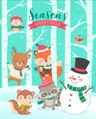 Cute cartoon animals and snowman illustration with tree background for christmas