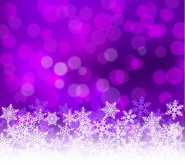 Winter lilac bokeh xmas background with snowflakes. Christmas bokeh holiday decoration for greeting card