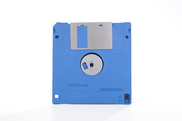 Blue floppy disc On isolated white studio background. Clipping path. Single object on white background photo.
