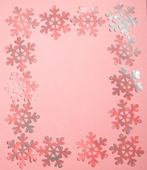 pink Frame made of snowflakes