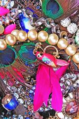 Fashion jewelrys. Fashion jewels as background. Jewelery texture. A lot of Jewells in texture. Jewellery background. Beautiful jewels pattern. Necklace earrings bracelet. Studio photo texture
