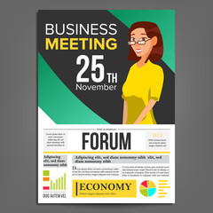 Business Meeting Poster Vector. Business Woman. Invitation And Date. Conference Template. A4 Size. Green, Yellow Cover Annual Report. Teamwork Cooperation. Illustration