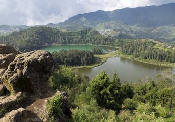 Java, Indonesia. Telaga Warna-color volcanic lakes on the plateau Diyeng..