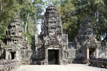 ruins of entrance gate of the temple (12th century), Siem Reap,  Cambodia.north gate Angkor Thom.