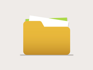 Icon folders with documents for computer, mobile phone or web interface. Vector illustration isolated on light background.