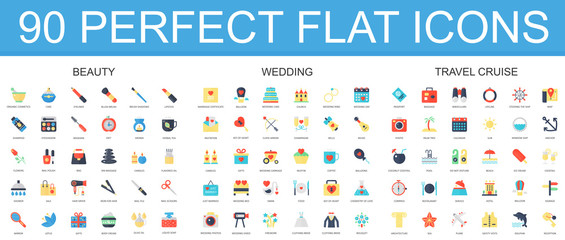 90 modern flat icon set of beauty, wedding, travel cruise icons.