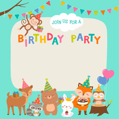 Cute cartoon animals illustration with copy space for birthday card template