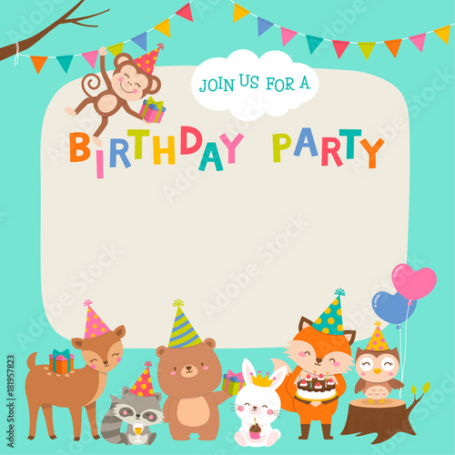 Cute Animals Cartoon Illustration For Baby Shower Card Design Template Stockfotos Und Lizenzfreie Vektoren Auf Fotolia