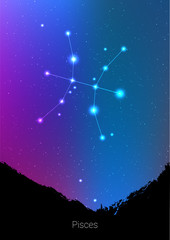 Pisces zodiac constellations sign with forest landscape silhouette on beautiful starry sky with galaxy and space behind. Pisces horoscope symbol constellation on deep cosmos background. Card design