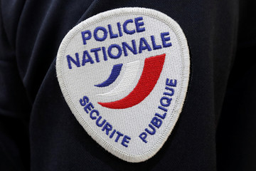 A badge of the Police Nationale, french police, is pictured at the 20th Milipol Paris, the worldwide exhibition dedicated to homeland security, in Villepinte near Paris