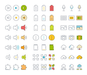 Set Vector Flat Line Icons Office and Business