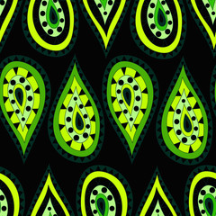 Seamless pattern in the Indian style in the form of cartoon drops of green and yellow on a black background