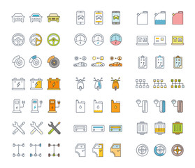 Set Line Icons of Car Repair