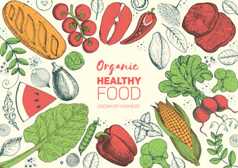 Healthy food frame vector illustration. Vegetables, meat and fish hand drawn. Organic products set. Farm market food collection.