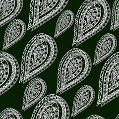 Indian oriental seamless pattern in the form of lacy white drops in ethnic style