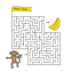Cartoon Monkey Maze Game