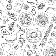 Mexican food seamless pattern. Menu design. Hand drawn vector illustration. Engraved style image. Classic mexican dishes.