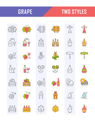 Set Vector Flat Line Icons Grape